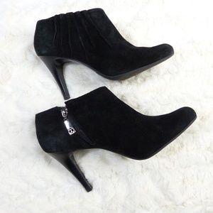Talbots 8.5 Black Suede leather Booties High Heel